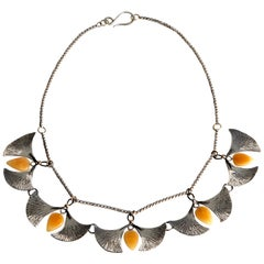 Audrey Werner, Sterling Silver, Amber, and Iron Gingko Necklace, US, 2020