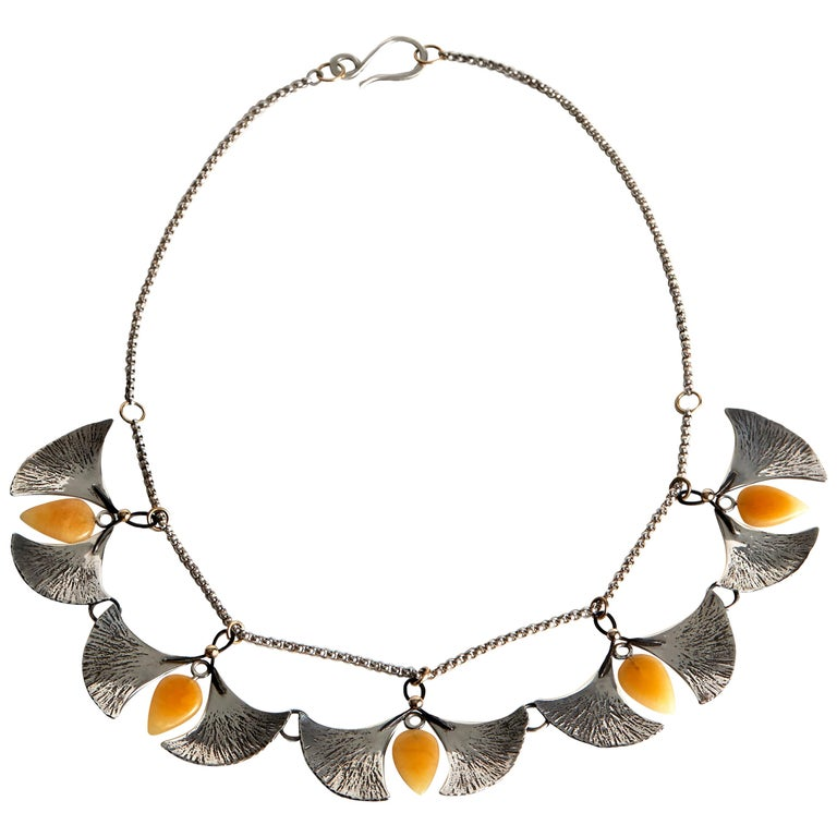 Audrey Werner, Sterling Silver, Amber, and Iron Gingko Necklace, US, 2020 For Sale