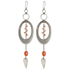 Audrey Werner, Sterling Silver and Carnelian Hoop Earrings, United States, 2017