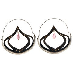 Audrey Werner, Sterling Silver and Pink Tourmaline Hoop Earrings, US, 2007
