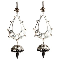 Audrey Werner, Sterling Silver and Whitby Jet Georgian Fringe Earrings, US, 2020