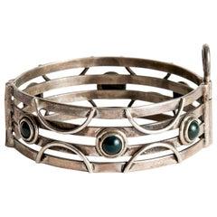 Audrey Werner, Sterling Silver & Bloodstone Hinged Bracelet, United States, 1993