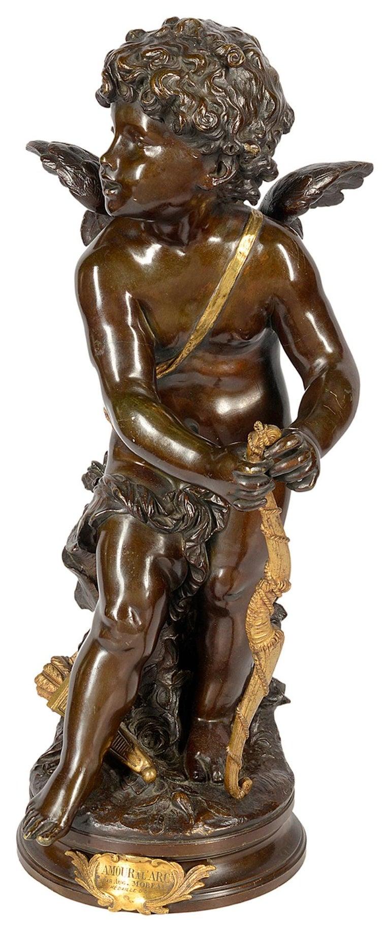 French Aug. Moreau Bronze Statue Entitled 'amour à l'arc' For Sale