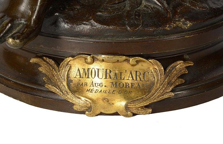 19th Century Aug. Moreau Bronze Statue Entitled 'amour à l'arc' For Sale