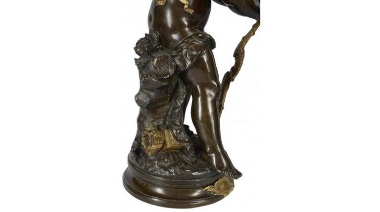 Aug. Moreau Bronze Statue of Eros, 19th Century In Good Condition For Sale In Brighton, Sussex