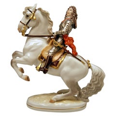 Augarten Vienna Figurine Prince Eugene of Savoy on Horse Levade Made, circa 1960
