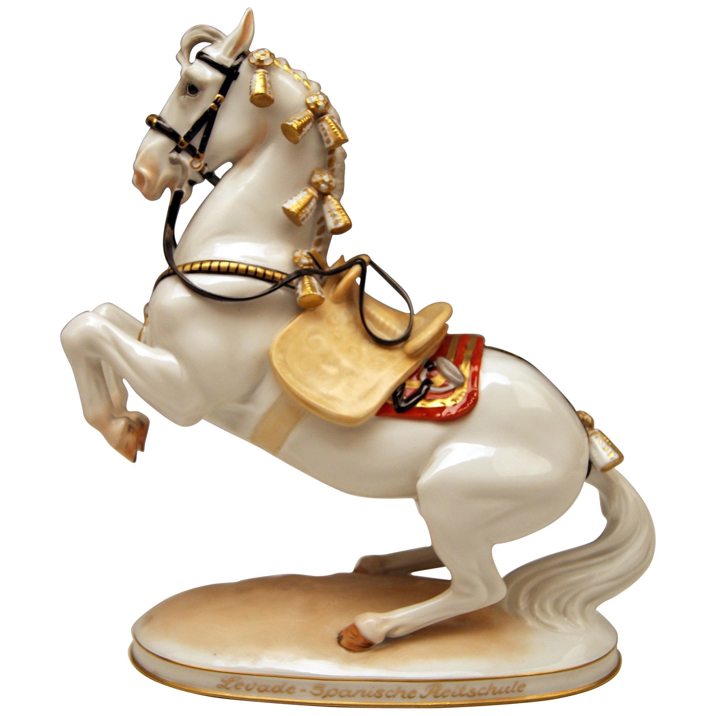 Augarten Vienna Horse Levade Spanish Riding School Design Doebrich, circa 1960
