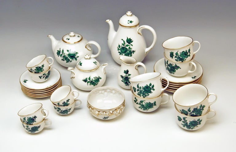 We invite you here to look at a splendid as well as nicest Augarten Vienna Mocha & Tea Set for six persons:  This Augarten tea set is of finest elegance due to its delicate green monochrome paintings depicting various flower's blossoms with leaves