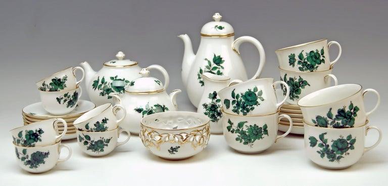 Biedermeier Augarten Vienna Mocha Tea Set Six Persons Maria Theresia Form Schubert For Sale