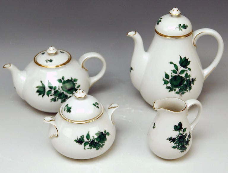Austrian Augarten Vienna Mocha Tea Set Six Persons Maria Theresia Form Schubert For Sale