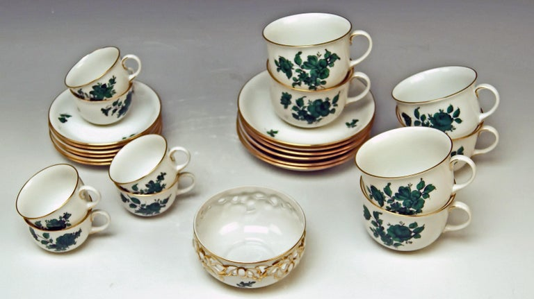 20th Century Augarten Vienna Mocha Tea Set Six Persons Maria Theresia Form Schubert For Sale