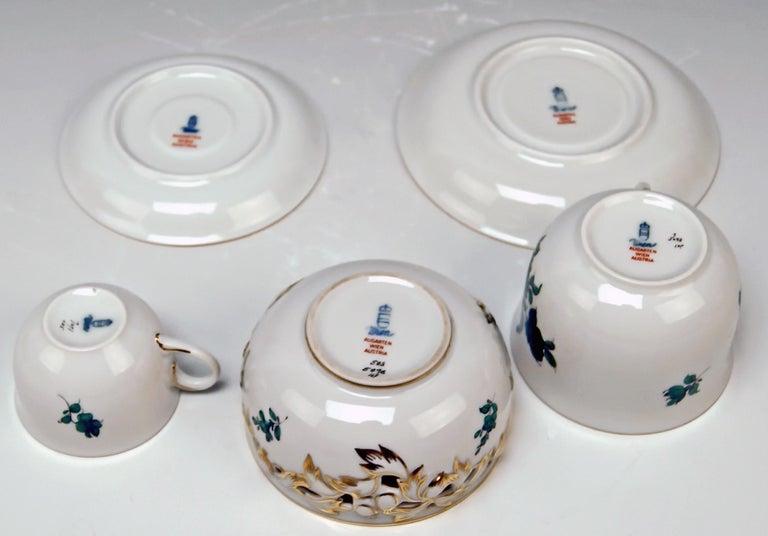 Porcelain Augarten Vienna Mocha Tea Set Six Persons Maria Theresia Form Schubert For Sale