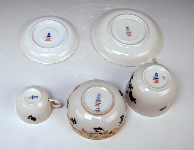 Augarten Vienna Mocha Tea Set Six Persons Maria Theresia Form Schubert For Sale 1