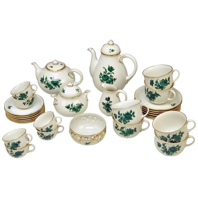 Augarten Vienna Mocha Tea Set Six Persons Maria Theresia Form Schubert For Sale