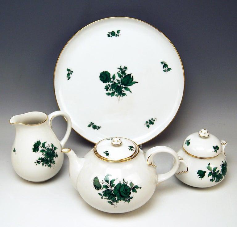 Austrian Augarten Vienna Tea Set Twelve Persons Decor Maria Theresia Form Schubert For Sale