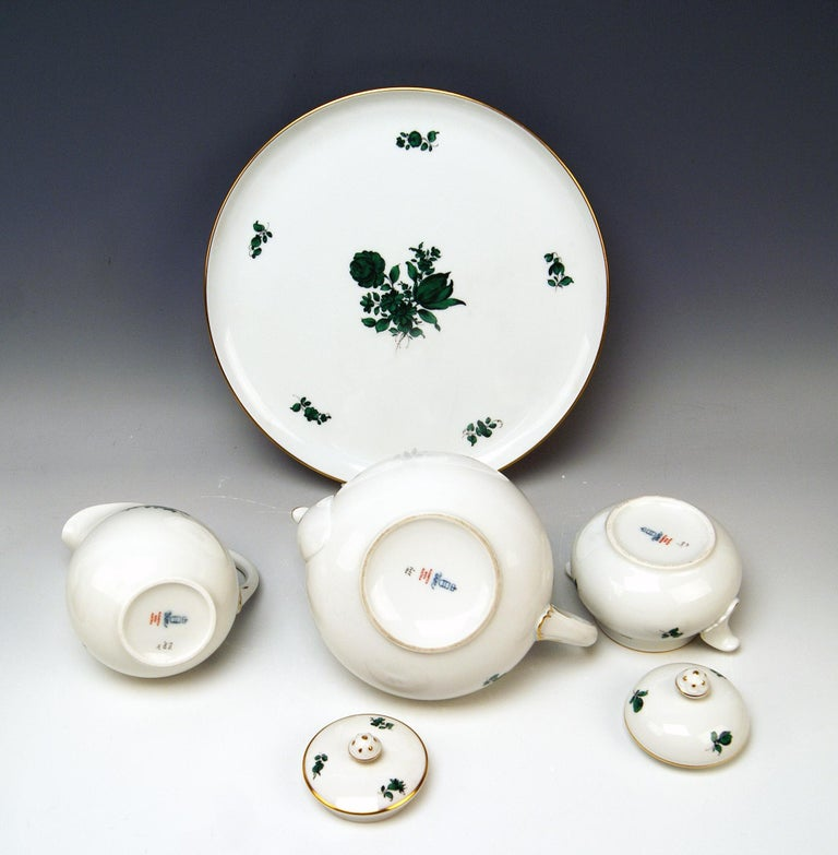 Painted Augarten Vienna Tea Set Twelve Persons Decor Maria Theresia Form Schubert For Sale