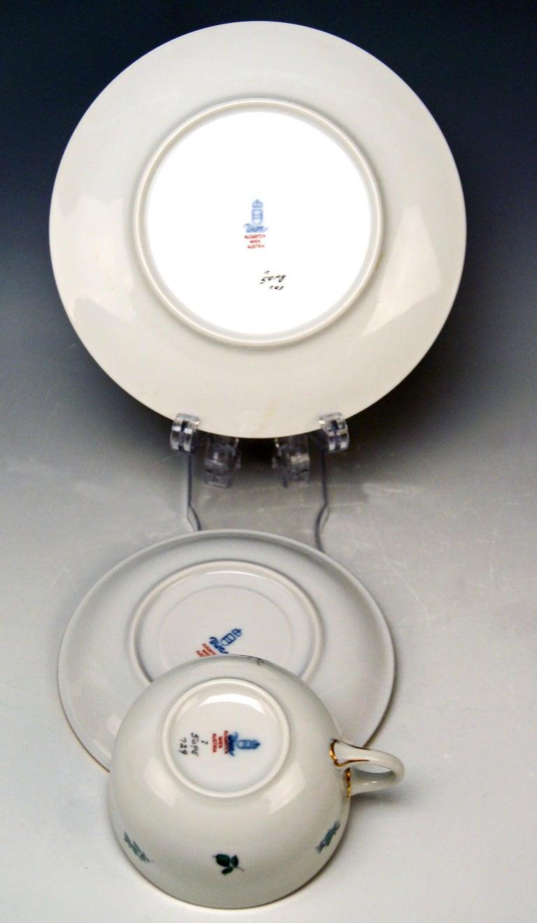 Porcelain Augarten Vienna Tea Set Twelve Persons Decor Maria Theresia Form Schubert For Sale
