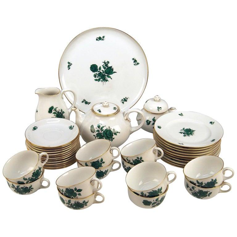 Augarten Vienna Tea Set Twelve Persons Decor Maria Theresia Form Schubert For Sale
