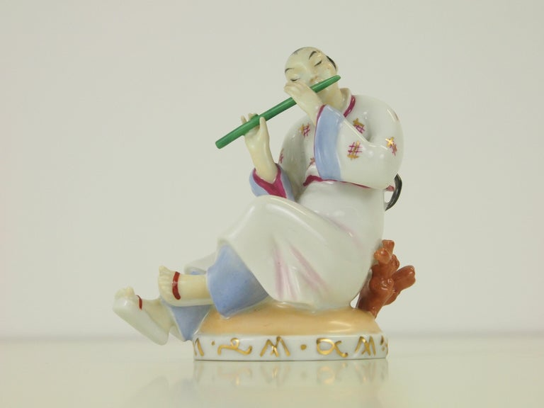 Romantic Augarten Wien Porcelain Figurine of a Chinese Man with Flute For Sale
