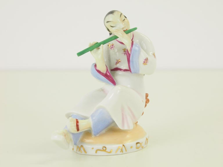 Hand-Painted Augarten Wien Porcelain Figurine of a Chinese Man with Flute For Sale