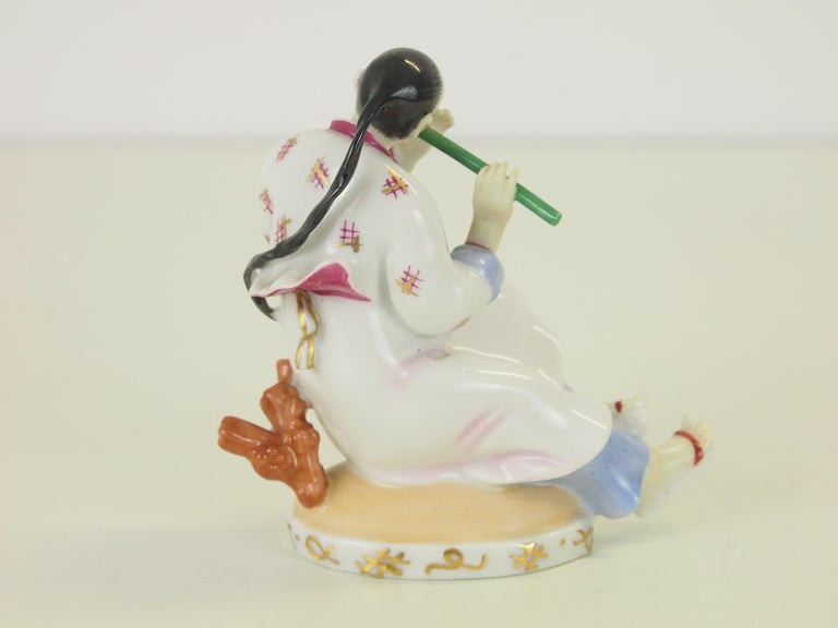 Augarten Wien Porcelain Figurine of a Chinese Man with Flute For Sale 2