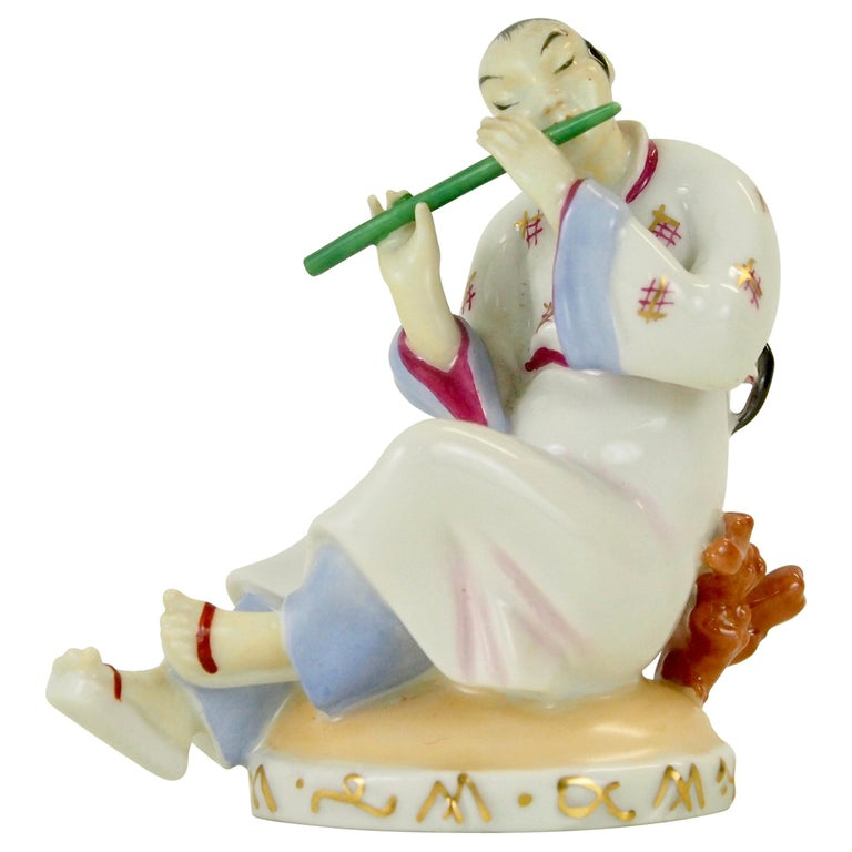 Augarten Wien Porcelain Figurine of a Chinese Man with Flute For Sale