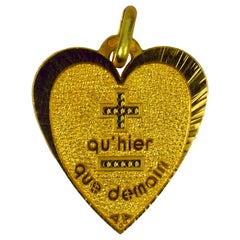 Augis French More Than Yesterday 18 Karat Yellow Gold Love Heart Charm Pendant