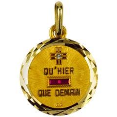 Augis French More Than Yesterday Diamond Ruby 18 Karat Gold Love Charm Pendant