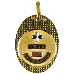 Augis French More Than Yesterday Ruby 18K Yellow White Gold Love Charm Pendant