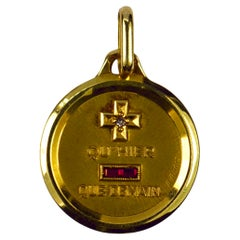 Augis French More Than Yesterday Ruby Diamond 18 Karat Gold Love Charm Pendant