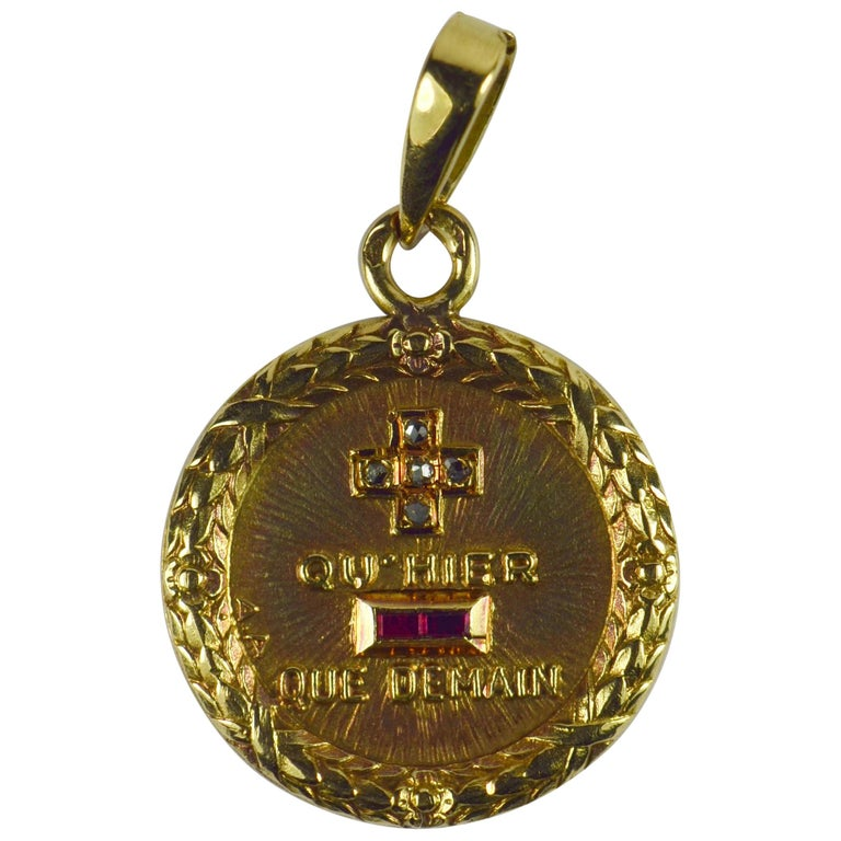 Augis French More Than Yesterday Ruby Diamond Yellow Gold Love Charm Pendant For Sale