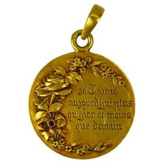 Augis French Plus Hier 18K Yellow Gold Ruby Love Charm Pendant