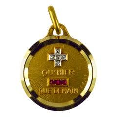 Augis French Plus Hier Ruby Diamond 18K Yellow Gold Love Charm Pendant