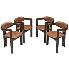 Augosto Savini Set of Four 'Pamplona' Chairs with Original Cognac Leather