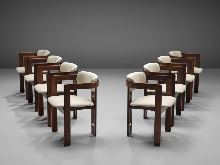 Mid-Century Modern Augosto Savini Set of Six 'Pamplona' Chairs with Rosewood Frame for Christine