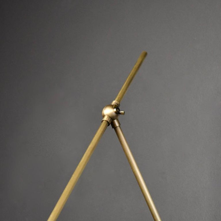 Mid-Century Modern Auguri Adjustable Wall Lamp in Glass and Brass Made by Blueprint Lighting For Sale