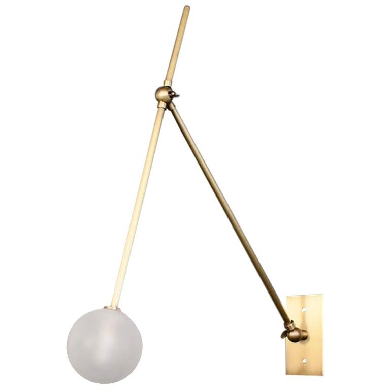 Auguri Adjustable Wall Lamp in Glass and Brass Made by Blueprint Lighting For Sale