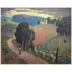 """August Evening,"" Masterful Landscape with Figure by MacGilvary, 1930s"