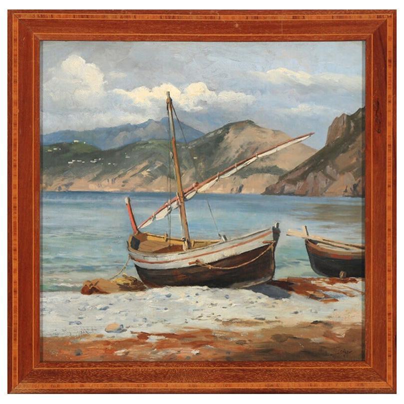 August Fischer Boats Pulled Ashore, Capri, Signed/Dated Aug. Fischer Capri 89