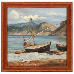 August Fischer Boats Pulled Ashore, Capri, Signed/Dated Aug. Fischer Capri 89