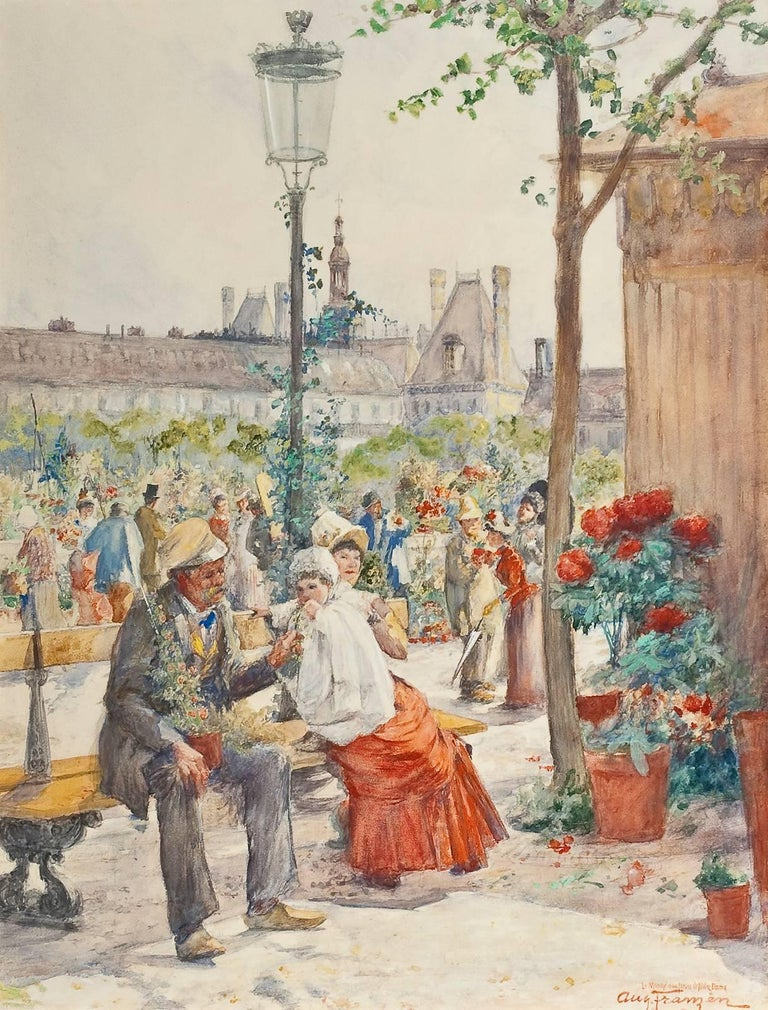 Le Marche aux Fleurs de Notre Dame - Painting by August Franzen