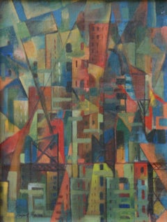 Geometric Abstract American Oil WPA Color Field Abstraction Modern Non Objective