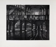 Subway Station, Architectural Etching by August Mosca