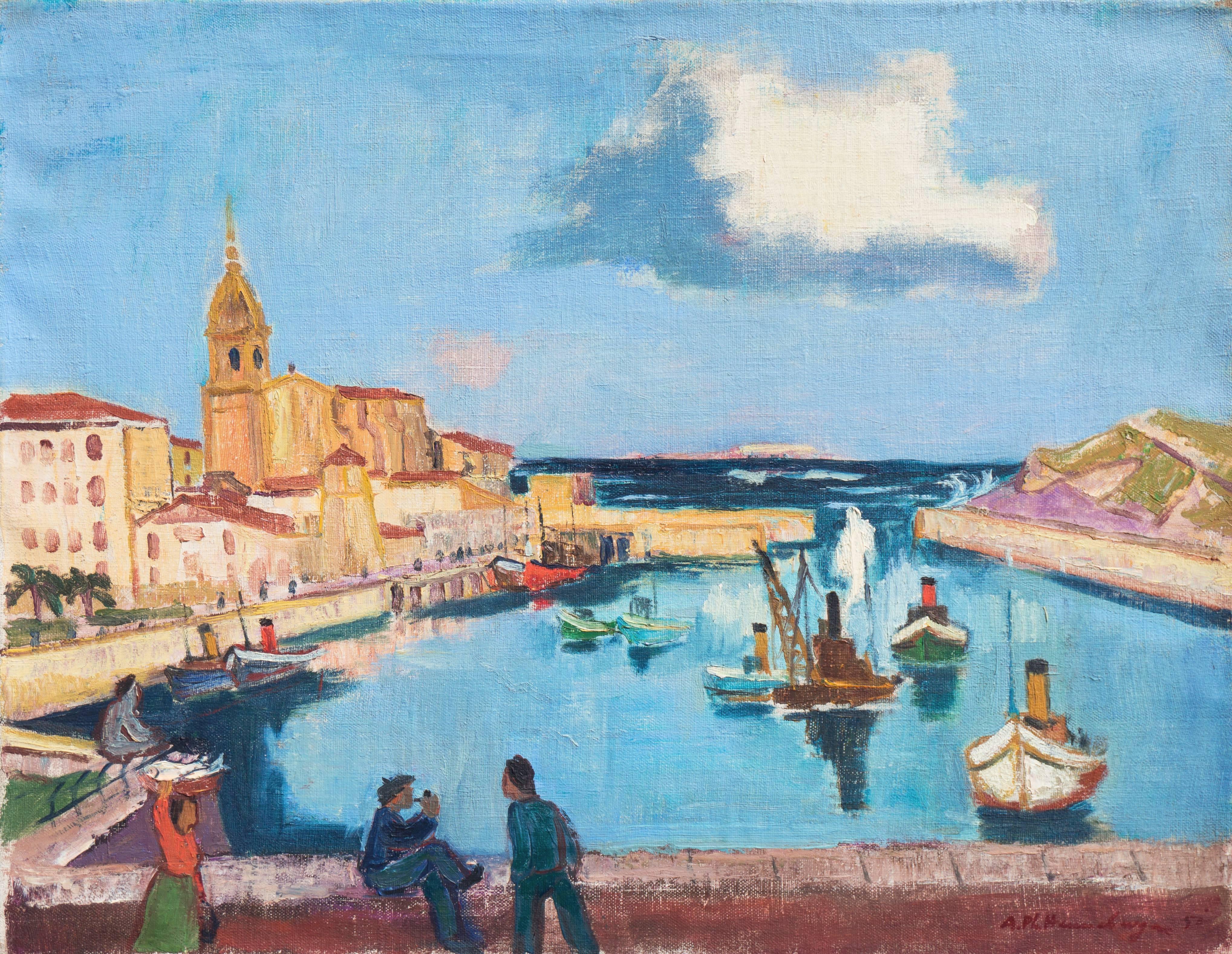 'The Basque Harbor at Bermeo, Spain', Munich Art Academy, Karl Caspar