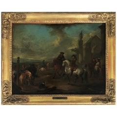 August Querfurt 18th Century Military Oil Painting, Austria