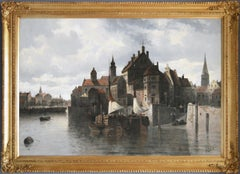 19th Century landscape oil painting of Kiel harbour, Germany