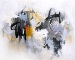Bruges by Augusta Wilson, Large Abstract Mixed Media on Canvas Painting