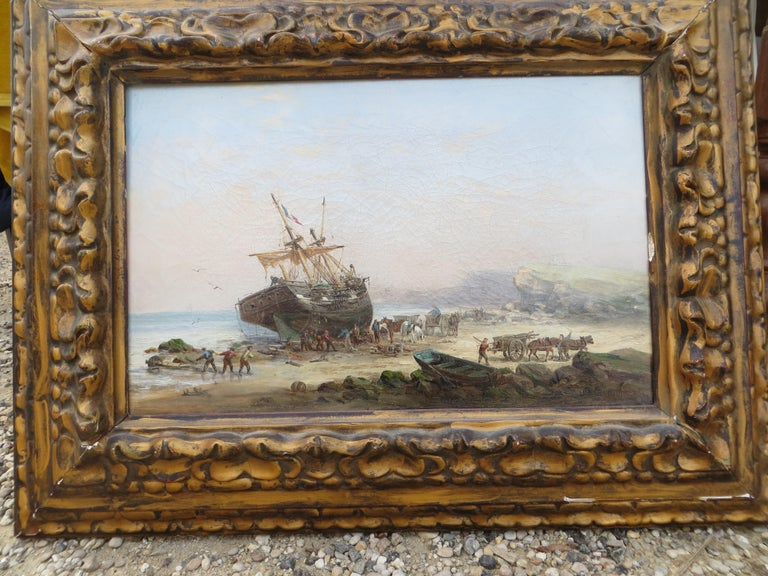 Boulogne sur Mer in France 1880  - Barbizon School Painting by Auguste Ballin