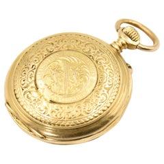Auguste Baud Engraved Shooting Medal Winner Gold Pocket Watch, 1895