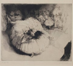 """Danseuse,"" original etching and drypoint by Auguste Brouet"
